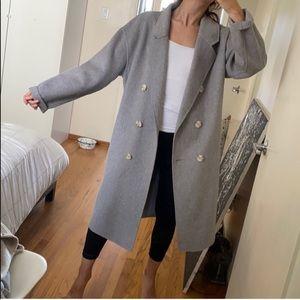 ZARA Gray Oversized Wool Coat Jacket